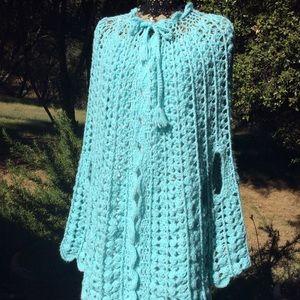 Vintage 1970 BOHO Hand Crochet Aqua Cape Coat O/S